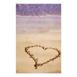 Heart Sand Beach Ocean Romantic Valentine - Custom Stationery