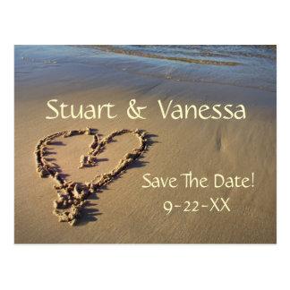 Heart Sand Beach Save The Date Custom Postcard