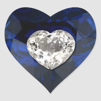 Heart Sapphire Diamond Print Sticker