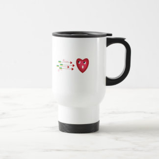 heart scared of arrows 15 oz stainless steel travel mug