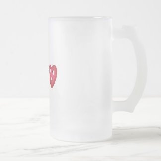 heart scared of arrows 16 oz frosted glass beer mug
