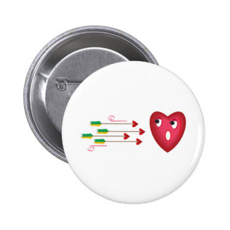 heart scared of arrows 2 inch round button