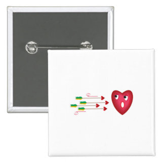 heart scared of arrows 2 inch square button