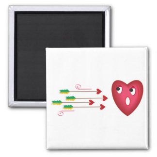 heart scared of arrows 2 inch square magnet