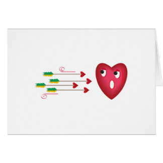 heart scared of arrows greeting card