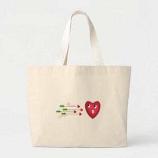 heart scared of arrows jumbo tote bag