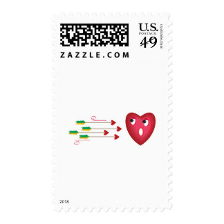 heart scared of arrows postage stamps