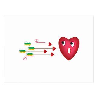 heart scared of arrows postcard