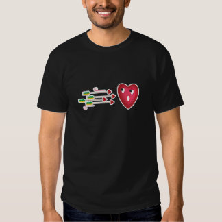 heart scared of arrows t-shirt