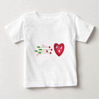 heart scared of arrows t-shirts