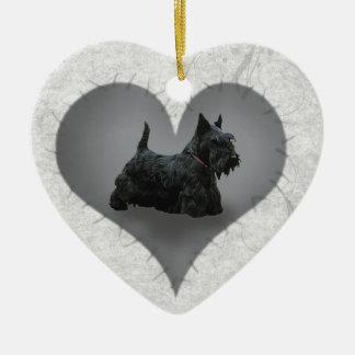 Heart Scottiie Ceramic Ornament