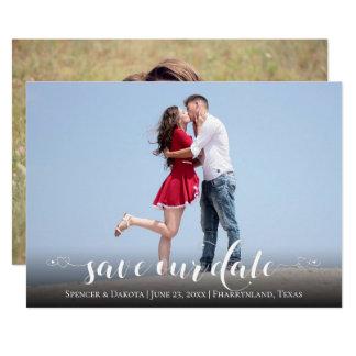 Heart Script Save the Date | White Modern 2 Photo Card