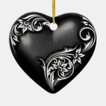 Heart Scroll Black White Ceramic Ornament