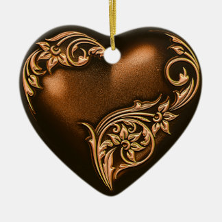 Heart Scroll Chocolate Brown w Gold Ceramic Ornament