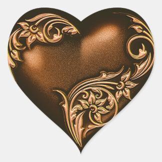 Heart Scroll Chocolate Brown w Gold Sticker
