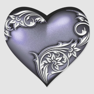 Heart Scroll Dark Violet Heart Sticker