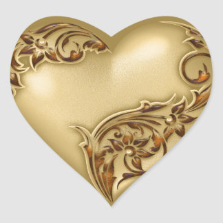 Heart Scroll Gold w Red Gold Heart Sticker