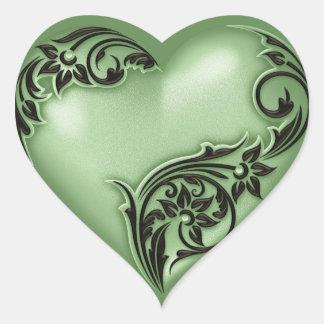 Heart Scroll Green w Black Heart Sticker