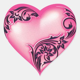 Heart Scroll Light Hot Pink w Black Heart Sticker