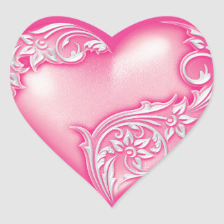 Heart Scroll Light Hot Pink w White Heart Sticker