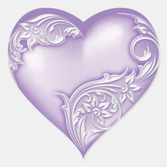 Heart Scroll Lilac w White Heart Sticker