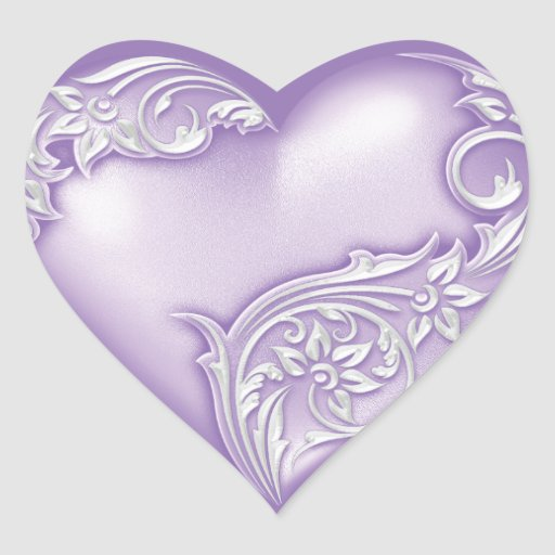 Heart Scroll Lilac w White Stickers