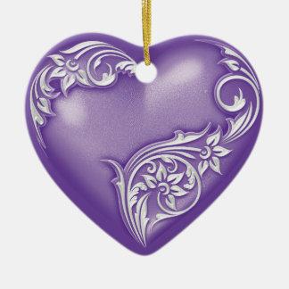Heart Scroll Purple w White Ceramic Ornament