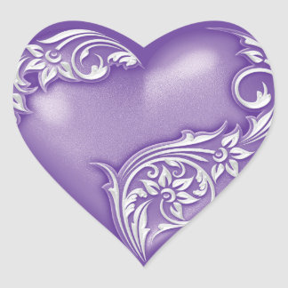 Heart Scroll Purple w White Heart Sticker