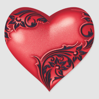 Heart Scroll Red w Black Heart Sticker