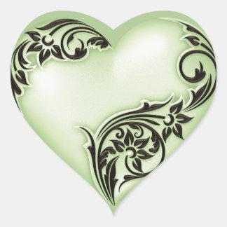 Heart Scroll Soft Green w Black Heart Sticker