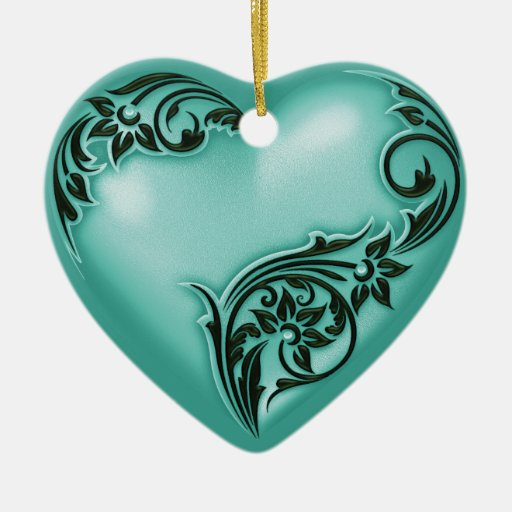 Heart Scroll Turquoise w White Double-Sided Heart Ceramic Christmas Ornament