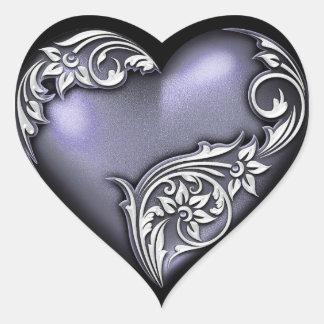 Heart Scroll Violet Heart Sticker