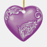 Heart Scroll Violet w White Double-Sided Heart Ceramic Christmas Ornament