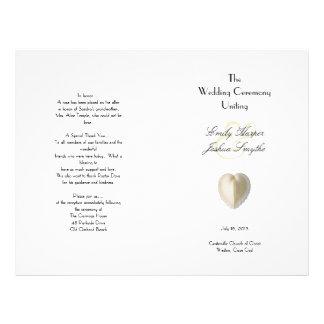 Heart Seashell Beach Wedding Ceremony Program Flyer