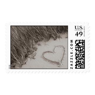 Heart Sepia Image Postage