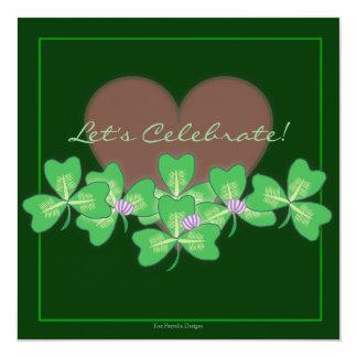 Heart & Shamrocks St. Patrick's Day Party Card