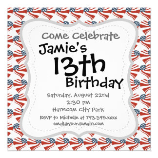 Heart Shape and the American Flag Pattern Custom Announcement