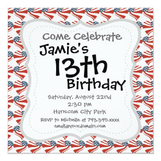 Heart Shape and the American Flag Pattern 5.25x5.25 Square Paper Invitation Card