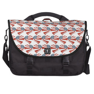 Heart Shape and the American Flag Pattern Computer Bag
