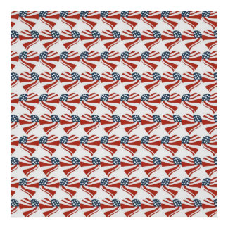 Heart Shape and the American Flag Pattern Poster