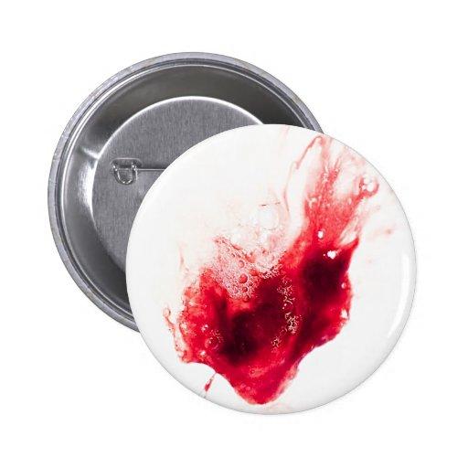 Heart Shape Blood Splatter Pinback Buttons