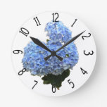 Heart Shape Blue Hydrangea Round Clocks