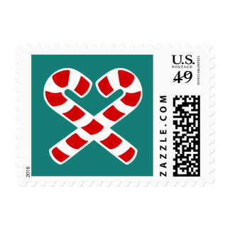 Heart shape candy canes Christmas postage stamps