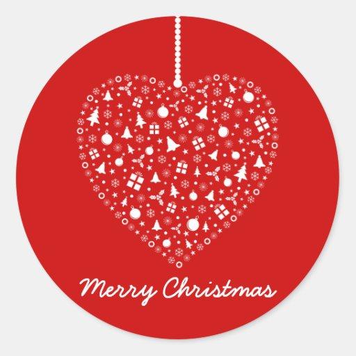 Heart Shape Christmas Ornament Design Classic Round Sticker