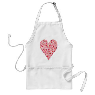 Heart Shape Crimson Polka Dots on Pink Adult Apron
