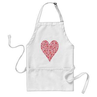 Heart Shape Crimson Polka Dots on Pink Adult Apron