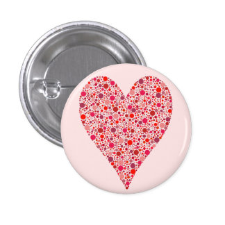 Heart Shape Crimson Polka Dots on Pink 1 Inch Round Button