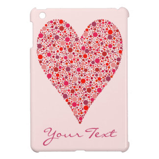 Heart Shape Crimson Polka Dots on Pink Case For The iPad Mini