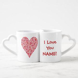 Heart Shape Crimson Polka Dots on Pink Couples Coffee Mug