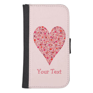 Heart Shape Crimson Polka Dots on Pink Galaxy S4 Wallet Case